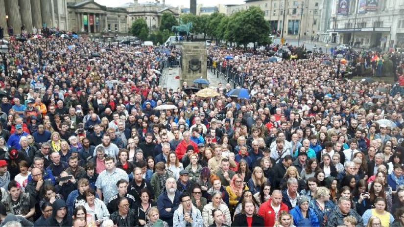 Jeremy Corbyn Labour Leadership Rally at St Georges Hall, Liverpool on 1 August 2016